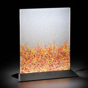 Oggetti di Design moderno. Lampade illuminate a led con bolle d'aria e inserti d'oro